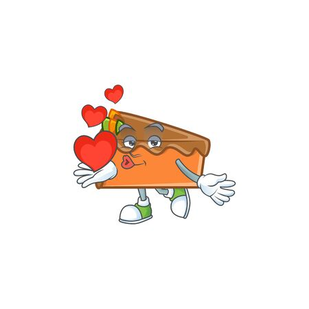 Slice cake in the cartoon character holding heart. Vector illustration