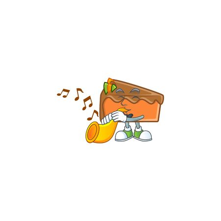 Slice cake in the cartoon character with trumpet. Vector illustration