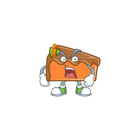 Slice cake in the cartoon character angry. Vector illustration