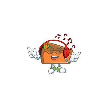 Slice cake in the cartoon character listening music. Vector illustration 일러스트