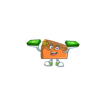 Slice cake in the cartoon character holding money. Vector illustration