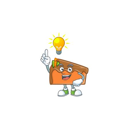 Slice cake character have an idea on white background vector illustration