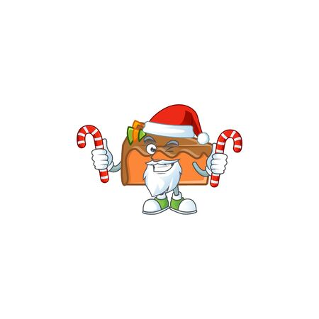 Slice cake character santa bring candy on white background vector illustration