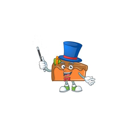 Slice cake character magician on white background vector illustration