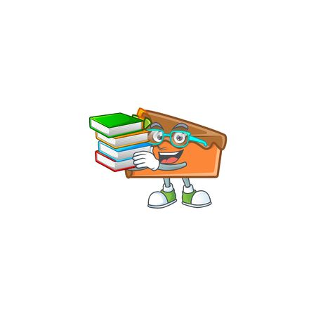Slice cake character student bring book on white background vector illustration