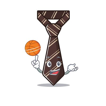 holding basketball cool tie character in the mascot vector illustration