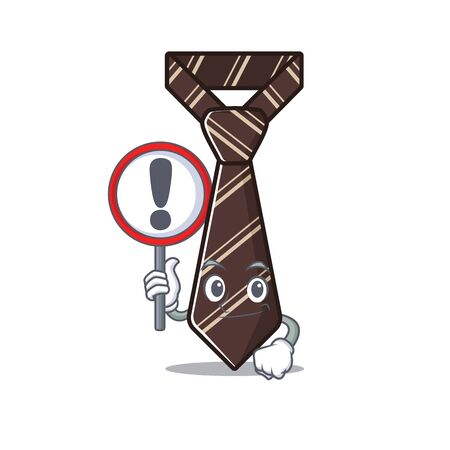 with sign warning cool tie character in the mascot vector illustration
