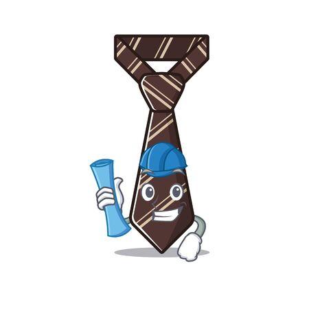 tie isolated architect with on the cartoon vector illustartion
