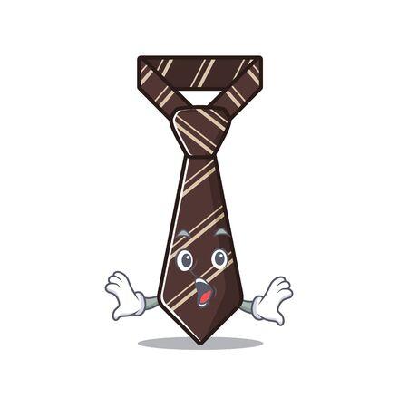 tie on mascot shape surprised vector illustration Illusztráció
