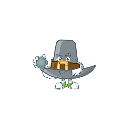 Design pilgrim hat with character doctor mascot vector illustration Ilustrace