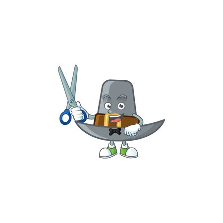 Design pilgrim hat with character barber mascot vector illustration 일러스트