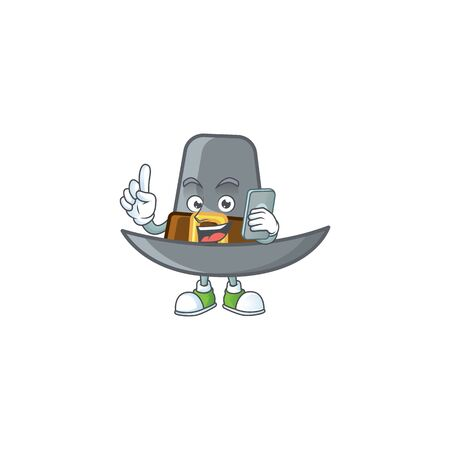Design pilgrim hat with character with holding phone mascot vector illustration