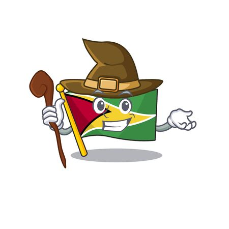 Witch flag guyana as with cartoon design vector illustration