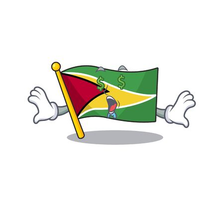 Confident flag guyana money eye cartoon character style vector illustration