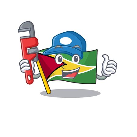 Confident flag guyana plumber cartoon character style