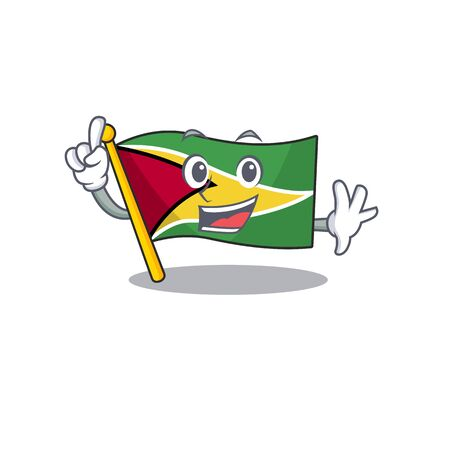 Confident flag guyana finger cartoon character style