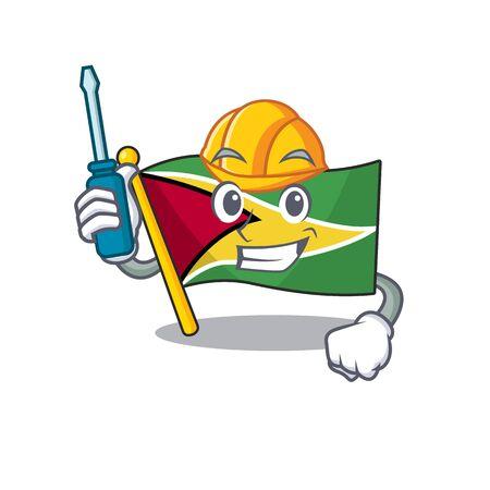 Confident flag guyana automotive cartoon character style