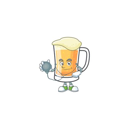 Cute mug of beer with doctor mascot. Vector illustration