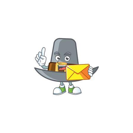 Pilgrim hat in the cartoon character bring envelope vector illustration