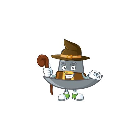Vintage pilgrim hat isolated with mascot witch. Vector illustration