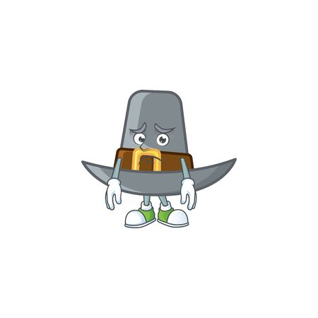 Vintage pilgrim hat isolated with mascot afraid. Vector illustration