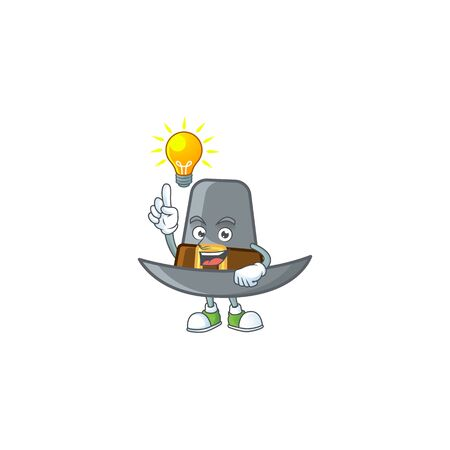 Pilgrim hat with buckle in character have an idea vector illustration 일러스트