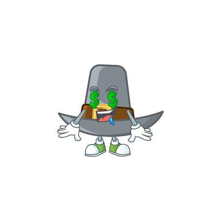 Pilgrim hat with buckle in character money eye vector illustration