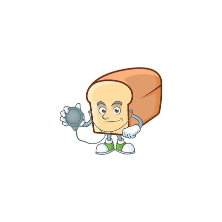 White bread of cartoon with doctor mascot. Vector illustration