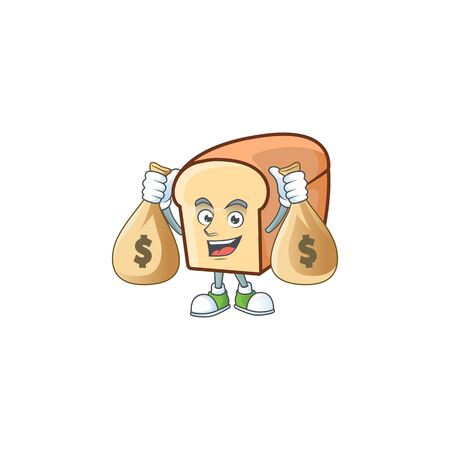 White bread of cartoon with holding money bag mascot. Vector illustration