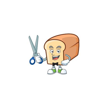 White bread of cartoon with barber mascot. Vector illustration Reklamní fotografie - 133572633