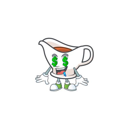 Gravy boat with character mascot shape money eye vector illustration Çizim