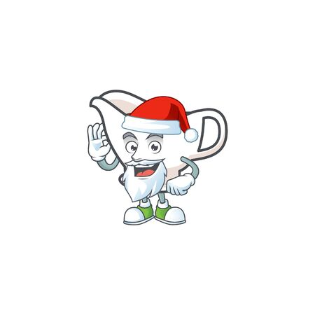 Gravy boat with character mascot shape santa claus vector illustration Çizim