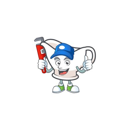 Gravy boat with character mascot shape plumber vector illustration Çizim