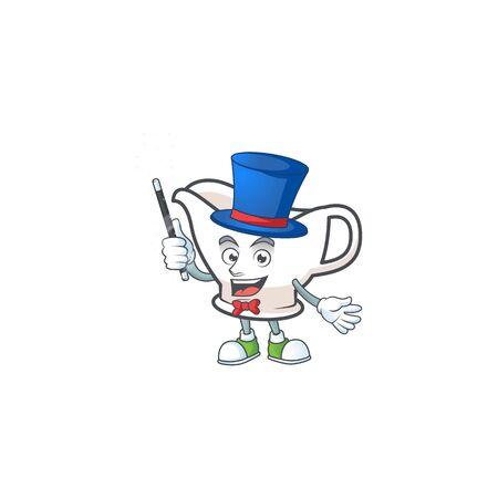 Gravy boat with character mascot shape magician vector illustration