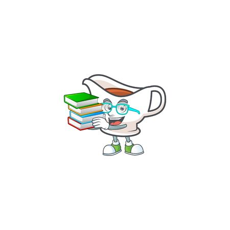 Gravy boat with character mascot shape student bring book vector illustration