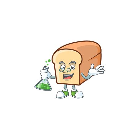 White bread with professor cartoon character shape. Vector illustration Ilustrace