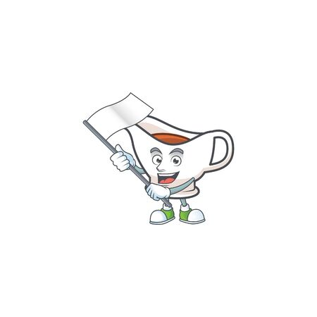 Gravy boat with character mascot shape bring flag vector illustration
