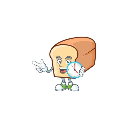 White bread with bring clock cartoon character shape. Vector illustration