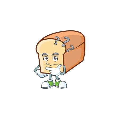 Cartoon of white bread in character thinking. Vector illustration