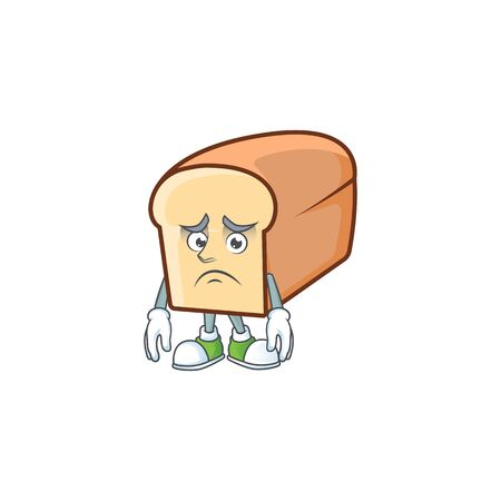Cartoon of white bread in character afraid. Vector illustration