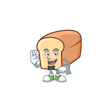Cartoon of white bread in character waiter. Vector illustration Ilustração