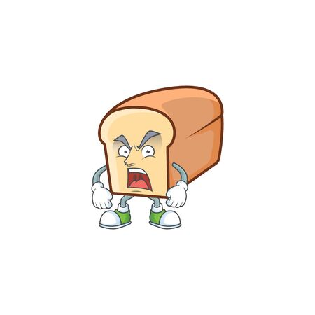 Cartoon of white bread in character angry. Vector illustration Standard-Bild - 135039700