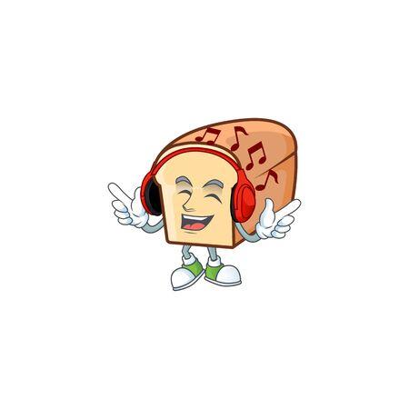 Cartoon of white bread in character listening music. Vector illustration
