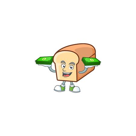 Cartoon of white bread in character holding money. Vector illustration