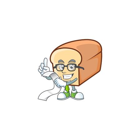 Cartoon of white bread in character holding bill. Vector illustration  イラスト・ベクター素材