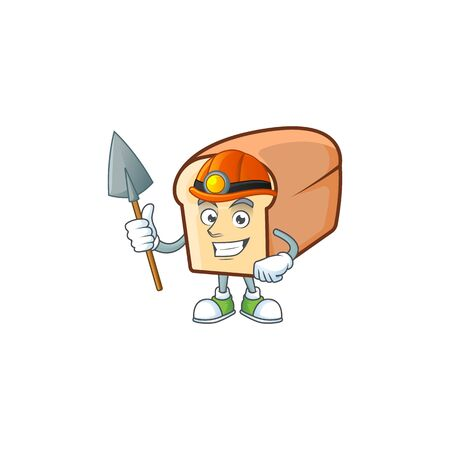 Cartoon of white bread in character miner. Vector illustration  イラスト・ベクター素材