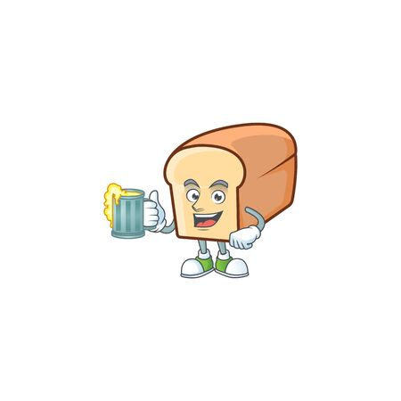 Cartoon of white bread in character holding juice. Vector illustration