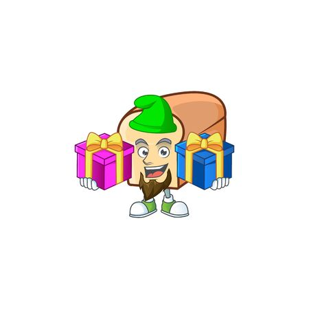 Cute bread isolated of cartoon character bring two gifts. Vector illustration  イラスト・ベクター素材
