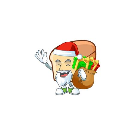 Cute bread isolated of cartoon character santa bring gift.