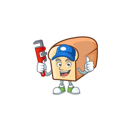 Cute bread isolated of cartoon character plumber. Illustration